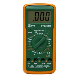 BEST BST-9205M LCD Digital Multimeter Handheld AC/DC Tester Device - Green + Orange