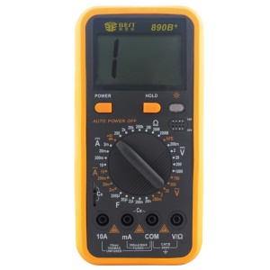 BEST BST-890B+ LCD Digital Multimeter AC/DC Tester Measure Device - Black + Orange