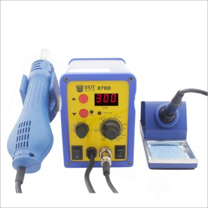 BEST BST-878D 2-in-1 Solder Station + Single LED Displayer Leadfree Hot Air Gun with Helical Wind - AC 220V