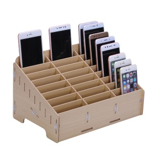 BG6039 Wooden 24-Grid Desktop Supplies Organizer Multi-functional Storage Box - Apricot