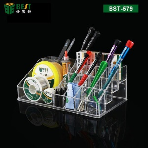 BEST BST-579 Muliti-slot Acrylic Storage Box Holder for Repair Tools
