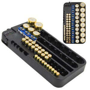 72 Various Sizes Holes Battery Organizer Storage Case with Removable Battery Tester