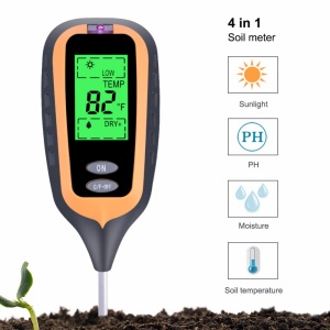 4-in-1 Soil Temperature/Moisture/Light/PH Tester for Farm, Garden, Lawn