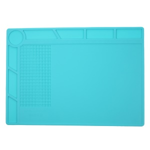Silicone Pad Phone Maintenance Platform High Temperature Resistant with 25cm Scale Ruler - Blue