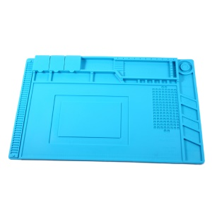 Heat Insulation Repair Platform Mat for Phones/Computers with Magnetic Screw Section - Blue