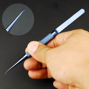 0.15mm Fingerprint Jump Wire Tweezer Titanium Alloy for Mobile Phone Mainboard Maintenance - Curved Tip