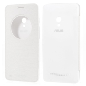 Circle Window View Smart Leather Flip Battery Door Cover for Asus Zenfone 5 - White