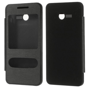 For Asus Zenfone 4 Dual View Windows Folio Rear Housing Leather Smart Case - Black