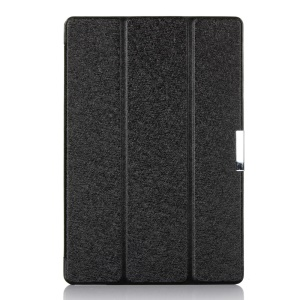Black Silk Texture Tri-fold Stand Smart Leather Case for ASUS Transformer Book T100