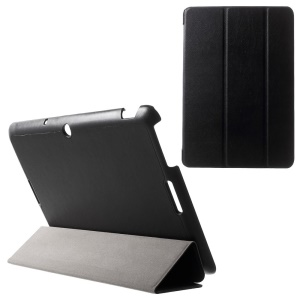For Asus Memo Pad 10 ME103K Tri-fold Leather Case with Auto Wake Sleep Function - Black
