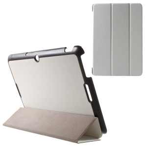 For Asus Memo Pad 10 ME103K Tri-fold Leather Case with Auto Wake Sleep Function - White