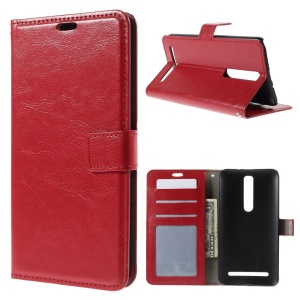 Crazy Horse Skin Leather Stand Case for Asus Zenfone 2 ZE551ML - Red