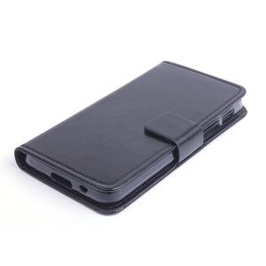 Crazy Horse Folio Leather Stand Case for Asus PadFone X / S PF500KL Phone - Black