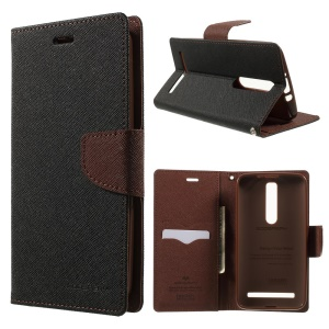 MERCURY Goospery Fancy Diary for Asus Zenfone 2 ZE551ML Leather Stand Cover - Brown / Black