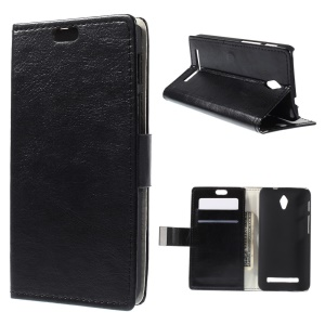 Crazy Horse Wallet Leather Case for Asus Zenfone C ZC451CG with Bracket - Black