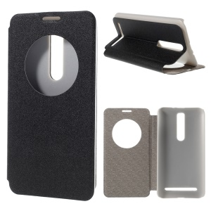 Smart Sand-like Leather Cover for Asus Zenfone 2 ZE550ML ZE551ML with View Window - Black