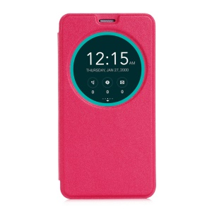 Smart Window View Leather Shell for Asus Zenfone 2 ZE550ML ZE551ML - Red