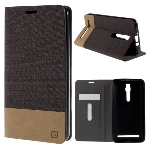 Assorted Color Linen Leather Case for Asus Zenfone 2 ZE551ML / ZE550ML - Coffee