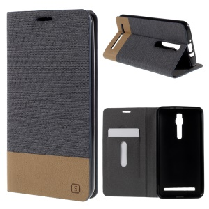 Assorted Color Linen Leather Card Holder Case for Asus Zenfone 2 ZE551ML / ZE550ML - Grey