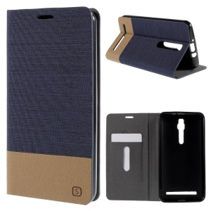 Assorted Color Linen Leather Case Cover for Asus Zenfone 2 ZE551ML / ZE550ML - Dark Blue