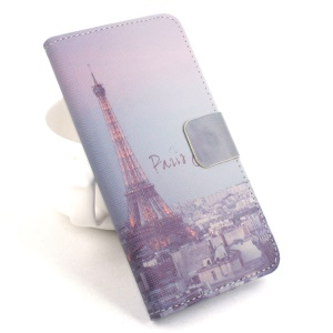 Eiffel Tower Card Slots PU Leather Stand Shell for Asus Zenfone 2 ZE500CL