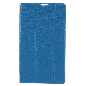 For Asus ZenPad C 7.0 Z170MG Silk Texture Leather Tri-fold Stand Shell - Blue