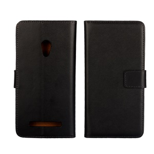 For Asus Zenfone 5 A500KL (2014) Wallet Genuine Split Leather Phone Case with Stand - Black