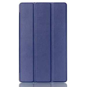 Litchi Skin Tri-fold Stand Leather Smart Cover for Asus ZenPad 8.0 Z380C Z380KL - Dark Blue