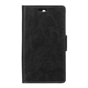 Crazy Horse Leather Wallet Case for Asus Zenfone Selfie ZD551KL - Black