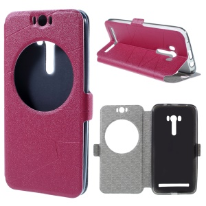 Sand-like Texture Smart Leather Cover for Asus Zenfone Selfie ZD551KL Window View - Red
