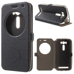 Sand-like Smart Leather Cover for Asus Zenfone 2 Laser ZE500KL with View Window - Black