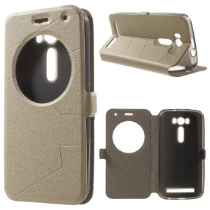 Sand-like Smart View Window Leather Cover for Asus Zenfone 2 Laser ZE500KL - Champagne