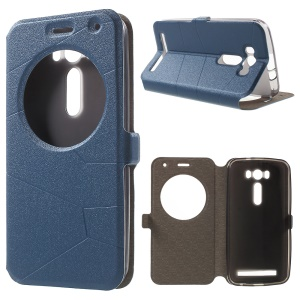 Sand-like Smart View Window Leather Cover for Asus Zenfone 2 Laser ZE500KL - Blue