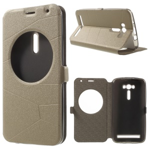 Sand-like Smart Leather Cover with View Window for Asus Zenfone 2 Laser ZE550KL ZE551KL - Champagne