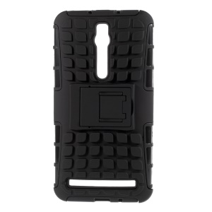 PC and TPU Combo Case for Asus Zenfone 2 ZE550ML ZE551ML with Kickstand - Black