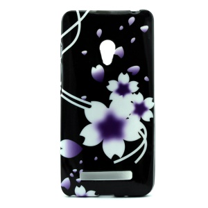 Flexible TPU Phone Case Cover for Asus Zenfone 5 - Purple Morning Glories