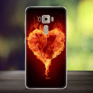 Softlyfit Embossing TPU Mobile Shell for Asus Zenfone 3 ZE552KL - Burning Flames