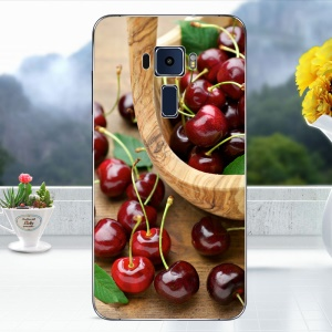 Softlyfit Embossed TPU Mobile Case for Asus Zenfone 3 ZE520KL - Cherry