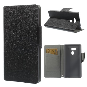 Silk Textured Leather Stand Case w/ Card Slots for Acer Liquid Z5 Z150 - Black