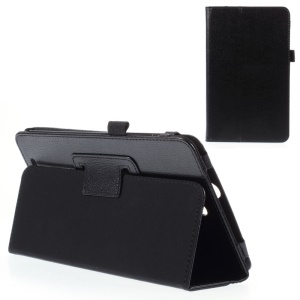 Lychee Skin Leather Folio Cover for Acer Inconia Tab 8 W1-810 with Stand - Black