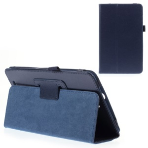 For Acer Inconia Tab 8 W1-810 Lychee Skin Leather Folio Stand Case - Deep Blue