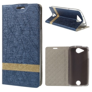 Lines Textured Folio Leather Stand Shell for Acer Liquid Jade - Dark Blue