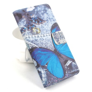 Horizontal Flip Leather Phone Case for Acer Liquid Z520 - Blue Butterfly