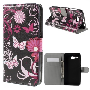 Wallet Leather Stand Case for Acer Liquid Z520 - Butterfly Flowers