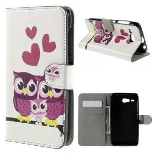 Magnetic Leather Stand Case for Acer Liquid Z520 - Cute Owl and Hearts