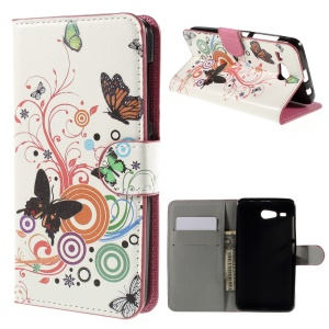 PU Leather Stand Case Cover for Acer Liquid Z520 - Butterfly Circles