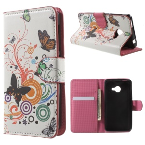 For Acer Liquid Z220 Leather Stand Phone Case - Butterfly and Circles