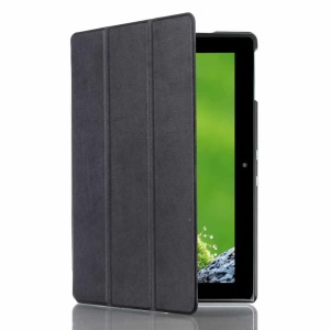 Litchi Tri-fold Stand Leather Protective Case for Acer Iconia Tab 10 A3-A30 - Black