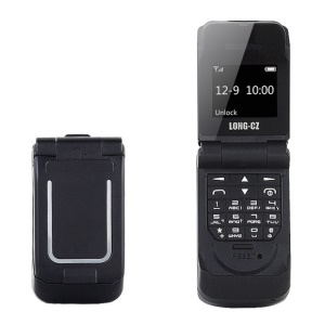 LONG-CZ J9 Mini GSM 2G Flip Feature Cell Phone Support Bluetooth Function - Black