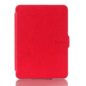 Cross Texture Leather Flip Cover for Amazon New Kindle 2014 - Red